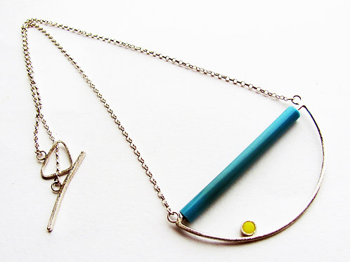 Found: Blue and Yellow Half Circle Necklace