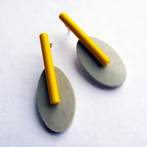 Estuary Earrings: Pale Grey and Yellow