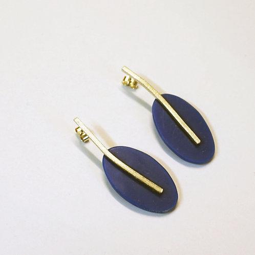 Deep Blue Oval Drop Earrings