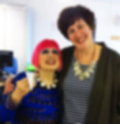 zandra Rhodes with her Cartographic Brooch made by Eleanor Symms