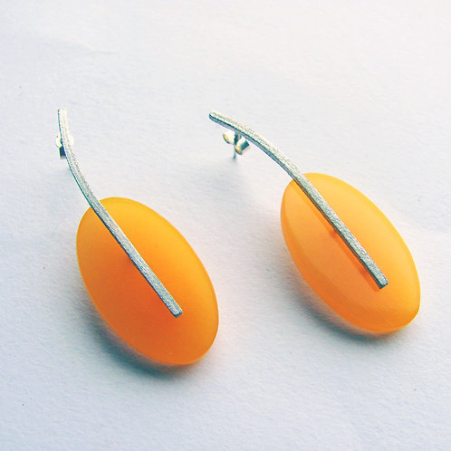 Colour Drop Earrings: Large Amber Ovals