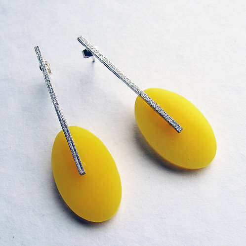 Colour Drop Earrings: Yellow Ovals