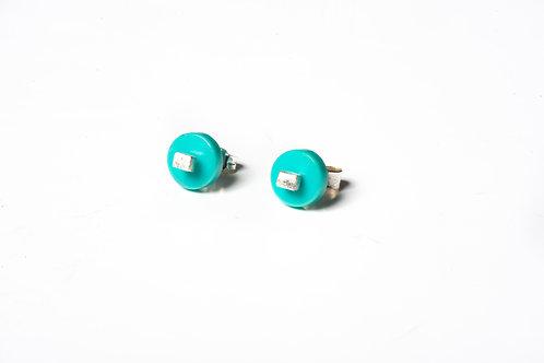 Turquoise Colour Dot Studs