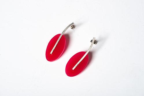 Deep Pink Oval Drop Earrings