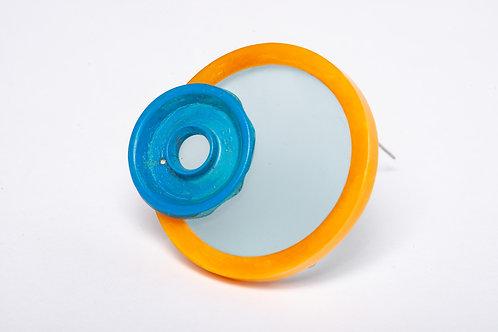 Found: Blue and Orange Round Brooch