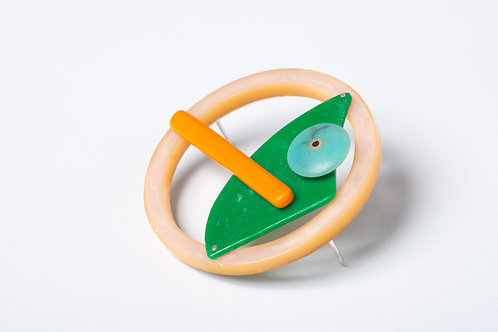 Found: Oranges and Green Round Brooch