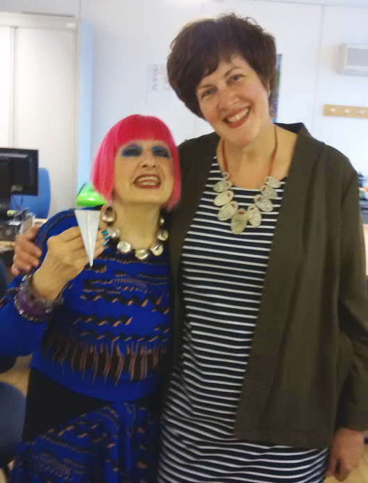 The wonderful Zandra Rhodes with the brooch I made for her #Cartographic Collection