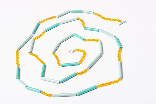 Long Turquoise and Yellow Necklace