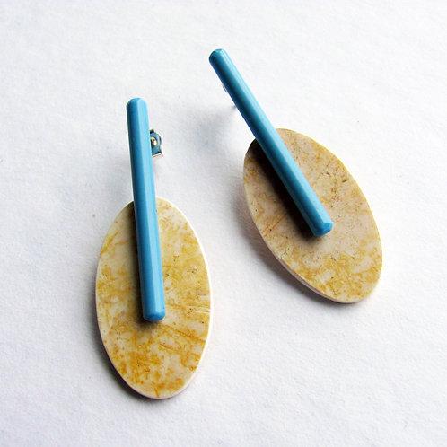 Estuary Earrings: Sand and Cornflower Blue