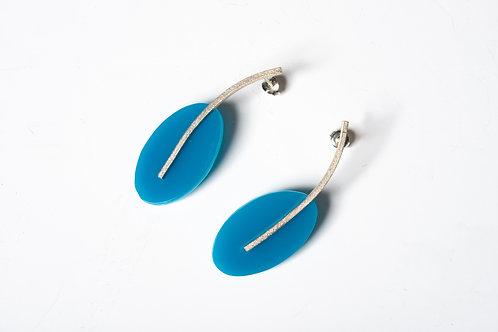 Teal Blue Oval Drop Earrings