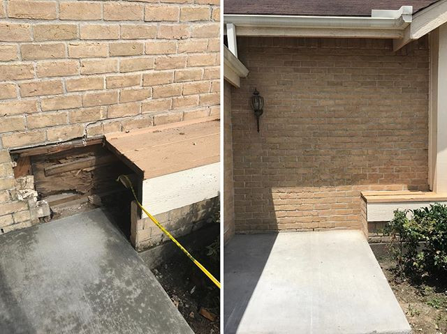 Installed missing bricks on front wall of home.jpg Before and after.jpg