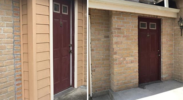 Removed siding and installed brick around the front main entrance of home.jpg