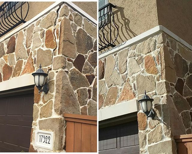 Removed and re-set section of loose stone.jpg Before and after.jpg