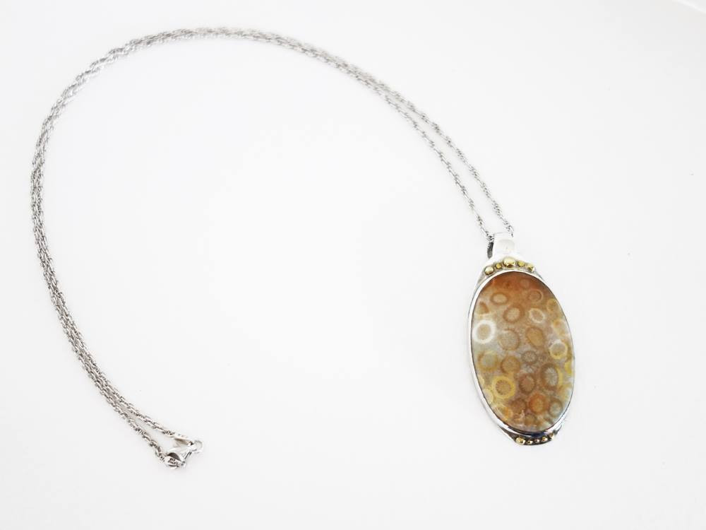 Fancy Coral, Handcrafted by Jungsun Lim, Sterling Silver and Fossil coral