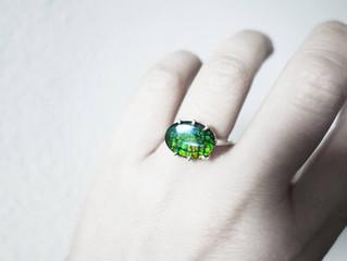"""Forest"" Organic Gemstone Ammolite ring, Silver, Handmade - J Lim Jewelry"
