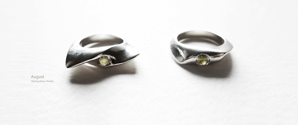 August Ring - peridot, sterling silver. Handmade by Jungsun Lim. Peridot is the birth stone of August and symbolizes good luck, peace and prosperity.