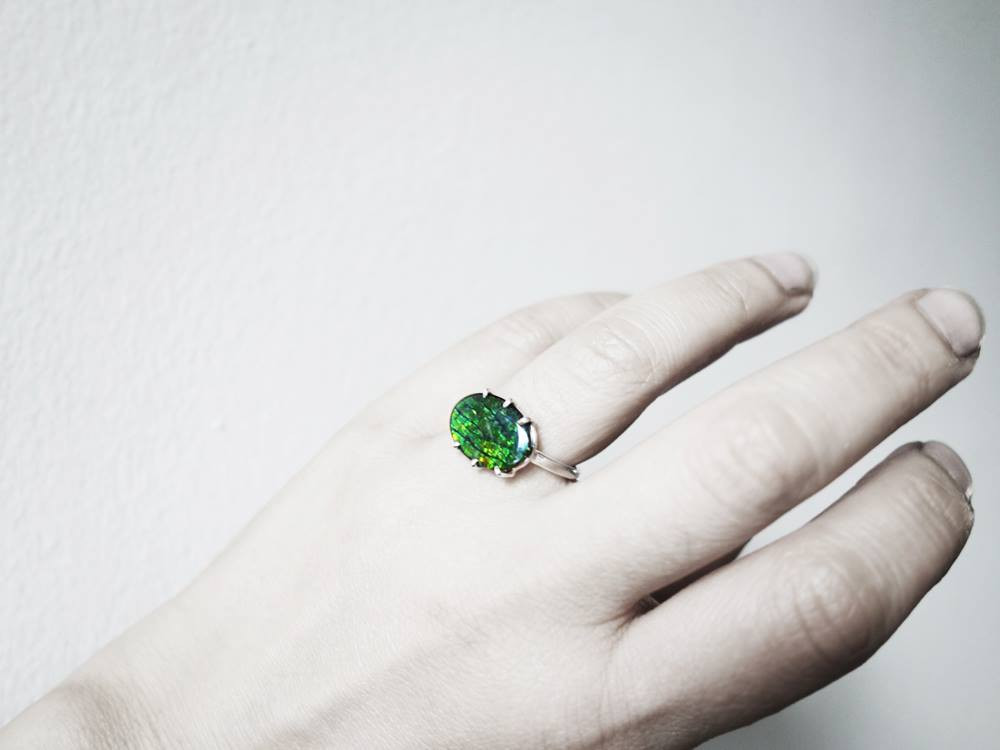 Forest, Handcrafted by Jungsun Lim, Sterling Silver and Ammolite