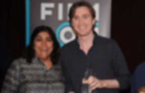 Gurinda Chadha presents Paul Murphy with award at Film London Best of Boroughs awards in 2012.