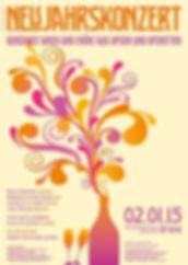 Beate Gartner Sopran: Konzertplakat Neujahrskonzert 2015 – Berühmte Arien aus Opern und Operetten