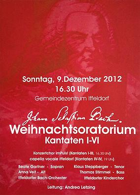 "Beate Gartner Sopran: Konzertplakat ""Weihnachtsoratorium Kantaten I-IV"" Iffeldorf"