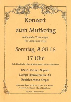 Beate Gartner Sopran: Konzertplakat Marianische Vertonungen für Gesang und Orgel