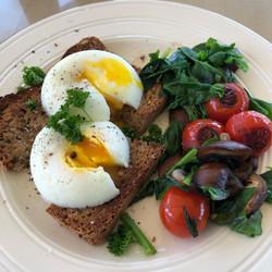 Poached eggs and garden veg