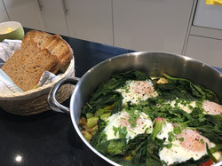 Baked eggs and Spinach