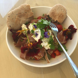 Prosciutto and goats cheese with pitta