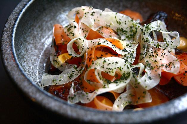 carrots, daikon linguine