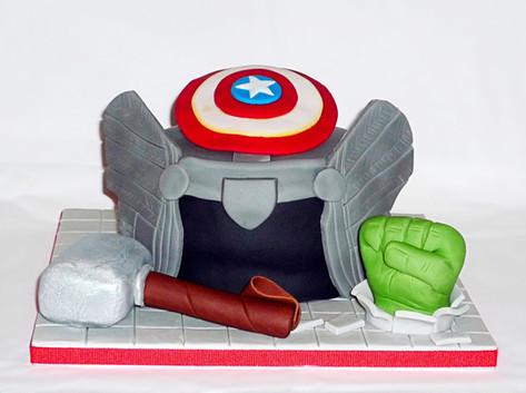 Thor and Avengers cake