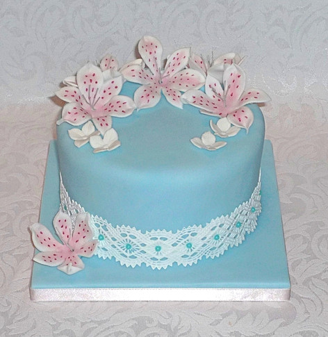 Lilies and Lace Birthday Cake