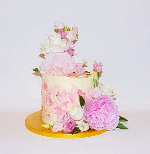Peony floral buttercream cake