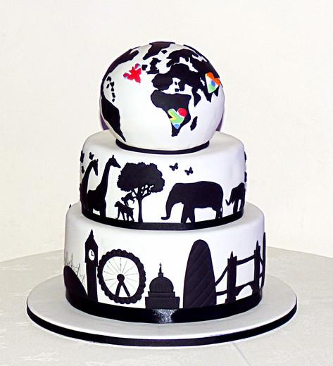 My World Silhoutte Wedding Cake