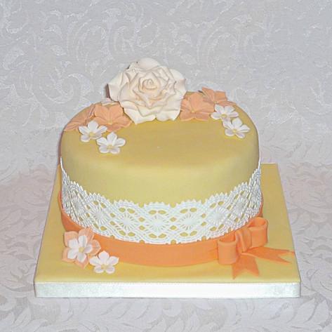 Citrus Roses Lace Birthday Cake