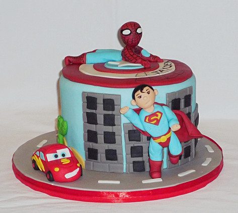 Superheroes Cars Birthday Cake