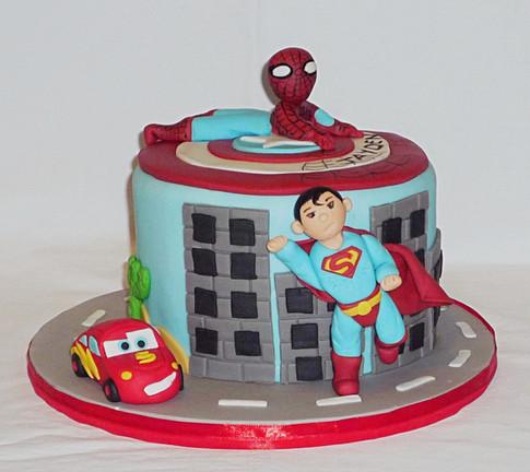 Superheroes Cars Birthday Cake