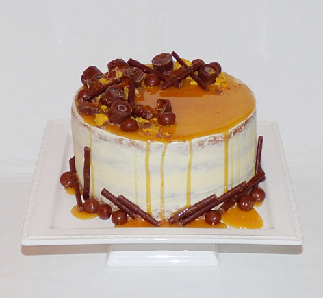 Naked Carrot Cake with Caramel drip