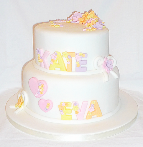Floral Names Birthday Cake