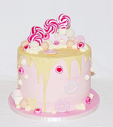Pink Sweets Chocolate Drip Cake