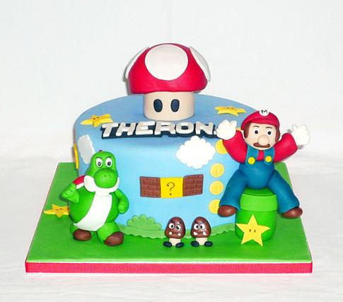 Super Mario and Yoshi Birthday Cake