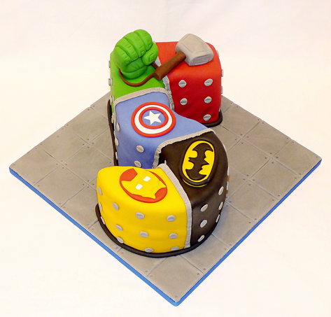 The Avengers with Batman 5 cake