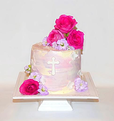 Watercolour Christening cake