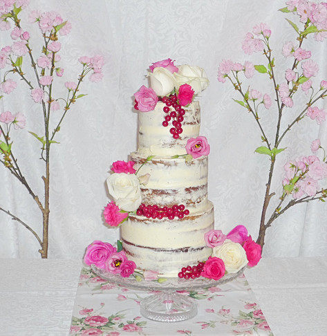 Semi-Naked Roses Wedding Cake
