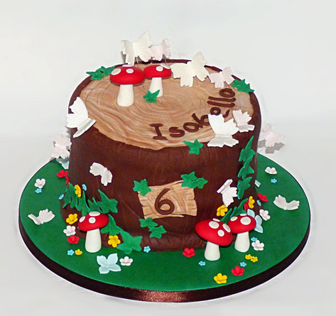 Tree Stump with Butterflies cake