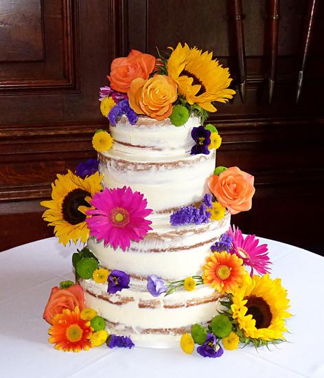 Semi-Naked Summer Floral Wedding Cake