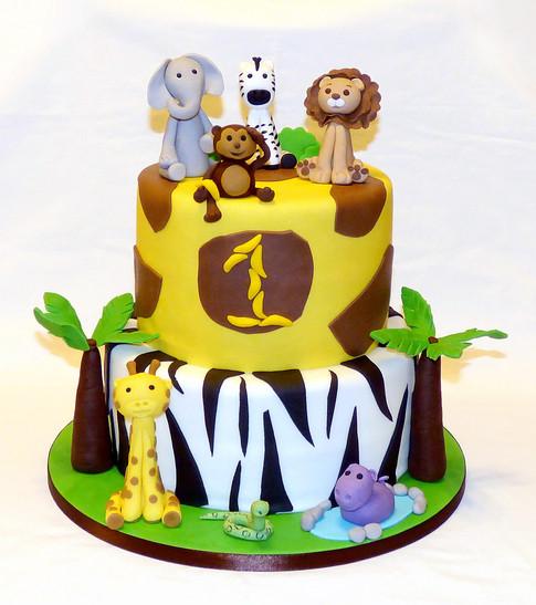 Safari Animals 1st Birthday Cake