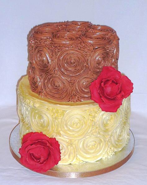 Peonies and Buttercream Swirls Cake