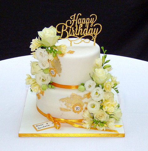 Floral birthday celebration cake