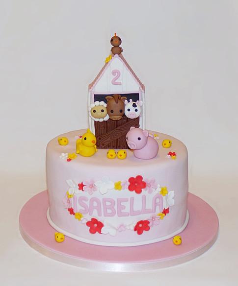 Pink Farm birthday cake