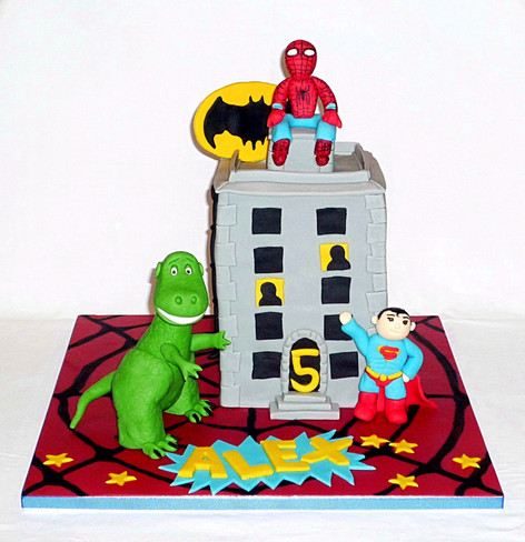 Dinosaur Attacks Superheroes Cake
